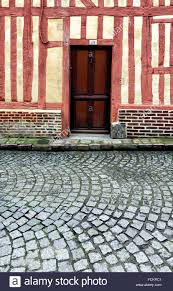 entrance door in half timbered house architectural detail