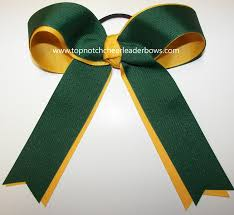 forest green yellow gold ponytail holder bow green gold ducks