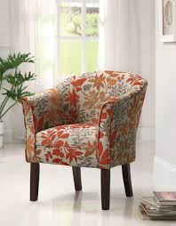 upholstered accent chairs living room furniture red leaves floral pattern summer accent chairs matching