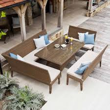 Dining Set With Bench Rattan Garden Bench Dining Set In Weatherproof Wicker 160cm Table