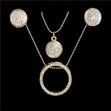 round crystal necklace images Gold color crystal jewelry sets women fashion round multilayer jpg