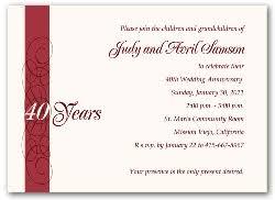 40th anniversary invitations 40th wedding anniversary invitations calligraphy 3600
