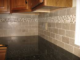 kitchen subway tiles with mosaic accents backsplash tumbled glass