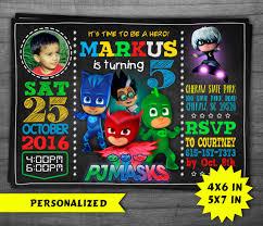 pj masks invitation pj masks birthday party pj masks dropsluck