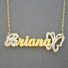 name pendant personalized gold name butterfly pendant 3d plate jewelry