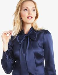 in satin blouses s navy fitted luxury satin blouse bow hawes curtis