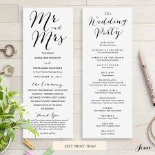 printed wedding programs wedding programs instant template sweet bomb edit