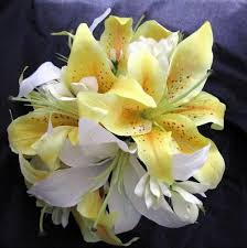 Yellow Lilies Lilies Wedding Bouquet Silk Bouquet Cream White Yellow Lily