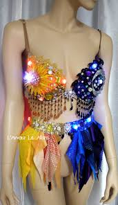 led sun and moon rave bra and garter belt dance halloween costume