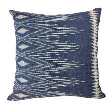 blue hand dyed indigo ikat pillow cover slate salt