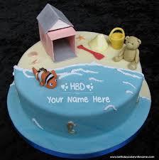 seaside themed birthday cake pic kids