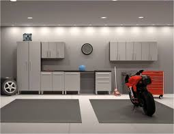 modern garage storage cabinets grey theme garage with modern recessed lighting ceiling and grey