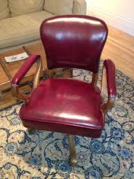 Kijiji Office Desk Vintage Oak Oxblood Leather Office Chair With Nailhead Trim On