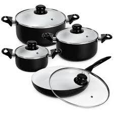 batterie de cuisine en batterie de cuisine en aluminium et revêtement en céramique tectake
