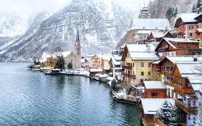 wallpaper hallstatt austria winter mountains snow coast 2880x1800