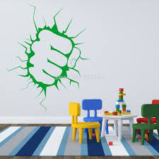 Decoration Kids Wall Decals Home by Aliexpress Com Buy The Incredible Hulk Fist Punch Boys Wall Art