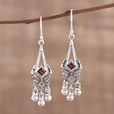 Garnet Chandelier Earrings Garnet And Sterling Silver Chandelier Earrings From India