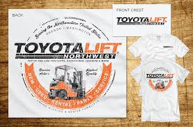 modern bold t shirt design for toyota lift northwest by