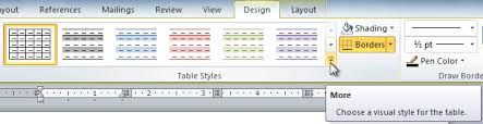 Change Table Style Word Word 2010 Working With Tables Page