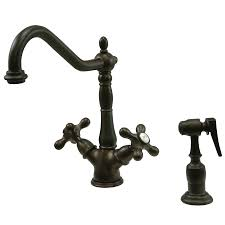 oil rubbed kitchen faucets shop kingston brass heritage oil rubbed bronze 2 handle deck mount