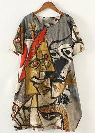 abstract pattern sleeveless dress plus size abstract pattern loose tunic dress to be clothed