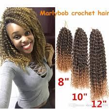 human bob marley hair kanekalon fiber 8 12inch ombre afro kinky curly crochet hair