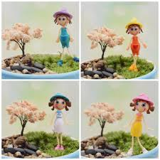tiny girls figurines toy diy office table bonsai decor little