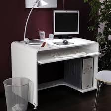 bureaux informatique meuble ordinateur blanc laqué bureau avec rangement en hauteur eyebuy