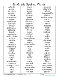 spelling words 5th grade new year info 2018