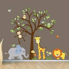 Safari Nursery Wall Decals Gender Neutral Wall Decal Safari Wall Decal Tree Wall Decal