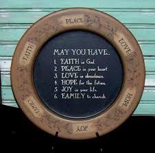 may you have faith peace love tag plate faith family friends