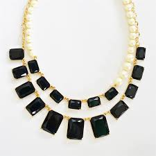 double strand beaded necklace images Pearl necklace double strand bib with faux pearls black resin jpg