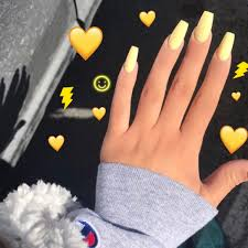 yellow acrylic nails nails pinterest acrylics makeup and