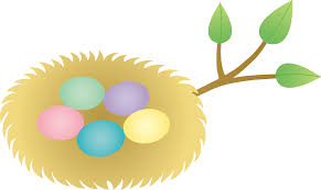 easter nest with colorful eggs free clip art