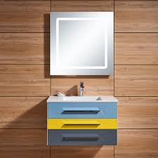 In Wall Bathroom Mirror Cabinets by 31 In Wall Mount Bathroom Vanity Set Single Sink And Led Mirror