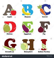 vector illustration fruit vegetables alphabetical order stock
