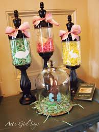 homemade easter decorations for the home easter apothecary jars i would put a cross in each tall jar that