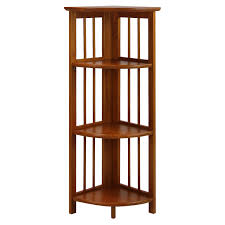 4 tier corner folding bookcase honey oak hayneedle