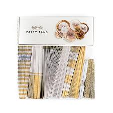 party fans gold foil paper fan party decorations the knot shop