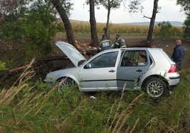 car crashes into tree near carletonville injuring two people