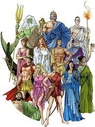 Na imagem vemos alguns Deuses gregos como: Afrodite, Zeus, Apolo, etc