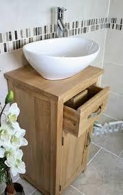 bathroom oak vanity cabinet single cloakroom unit sink bowl basin