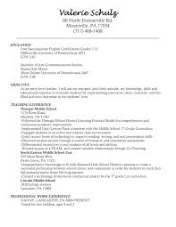 exles of teachers resumes objective for a teaching resume high school pdf cv