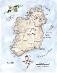 map of ireland watercolor colored pencil painting drawing