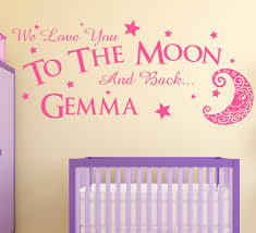 love you to the moon wall sticker personalised girls bedroom decal love you to the moon and back wall sticker personalised