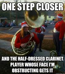 Clarinet Player Meme - one step closer and the half dressed clarinet player whose face i
