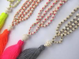 beaded tassel necklace images Neon beaded tassel necklace etsy jpg
