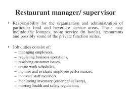 HOSPITALITY FOOD  BEVERAGE SERVICE - Dining room supervisor job description
