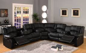 Overstock Sectional Sofas Black Leather Seat Recliner Sectional Sofa Overstock Leather Black