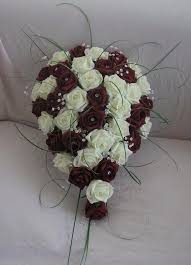 artificial wedding bouquets artificial wedding flowers ivory burgundy foam teardrop
